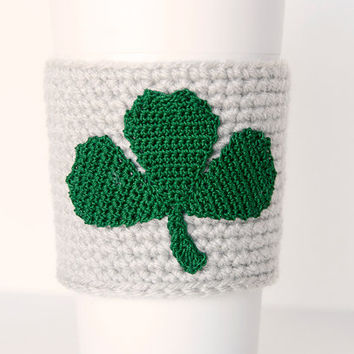 Cup Sleeve, Coffee cozy, shamrock, kelly green, i love coffee, irish linen colored sleeve, st patricks day gift for her, cup cozy