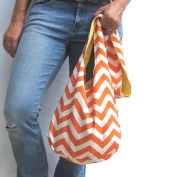 Orange Chevron Purse. Fall Fashion. Reversible Fabric Purse Coordinate with Bold Solid Colors. Zig Zag Pattern Slouch Bag. Boho Chic.