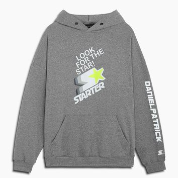 dp look for the star hoodie / heather grey + white + neon