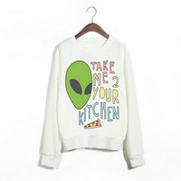 Green Alien Pizza Print Sweatshirt