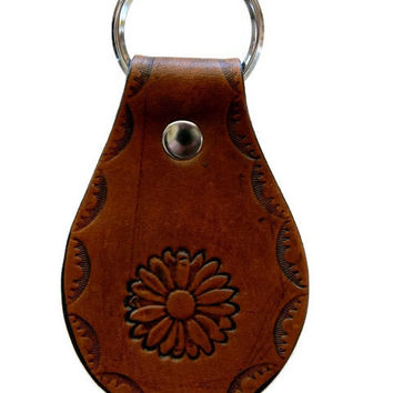 Sunflower Western Themed Hand Stamped & Dyed Leather Key Chain