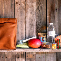 HANDMADE Reusable LEATHER Lunch Sack w/ Thermal Lining GREEN Back to School Tote Accessories Lunch Box Insulated Bag Bento Box Leather Pape
