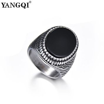 YANGQI Stainless Steel Crocodile Skin Engraving Oval Stone Rings for Men Punk Style Snake Skin Engraved Ring Party Jewelry Male