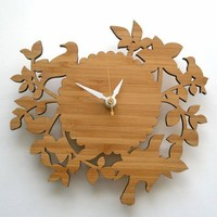 Birds & Branches Bamboo Clock