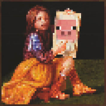 Minecraft Pig Painter Video Game Poster 24x24