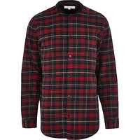 River Island MensRed check bomber long sleeve shirt