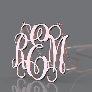 Beautiful monogram necklace--rose gold plated name pendant monogram necklace