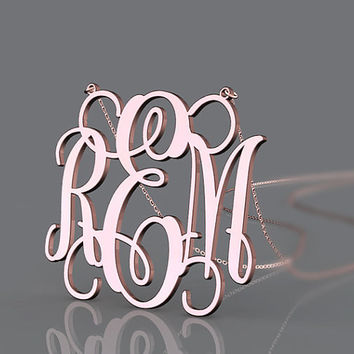 Girl's monogram necklace-- 1 inch monogram jewelry customized-fashion present choice