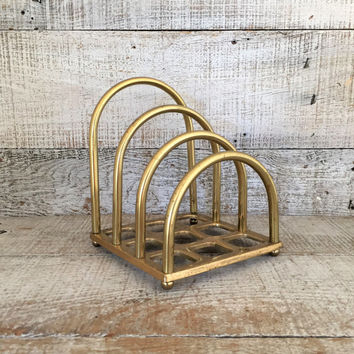 Desktop Organizer Vintage Brass Desk Organizer Brass Office Desk Accessories Desk Caddy Pencil Holder Mail Organizer Desktop Organizer