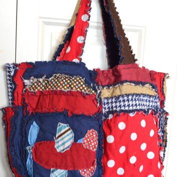 RAG PURSE Diapr Bag with Vintage Airplanes in Red and Blue, Made To Order