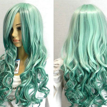 Mint Green & Teal Ombre Curly/Wavy Wig W/Side Bangs