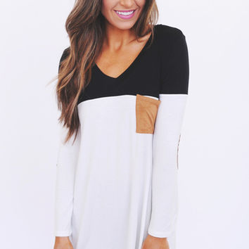 Black/White/Camel Pocket Tunic