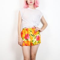 Vintage 1970s Shorts Yellow Orange Pink Red Tropical Hawaiian Floral Print Micro Mini Hot Pants 70s Hippie Shorts Boho S Small M Medium L