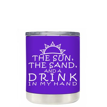 TREK The Sun The Sand and a Drink in my Hand on Purple 10 oz Lowball Tumbler