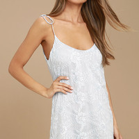 Because of You Light Blue Embroidered Shift Dress