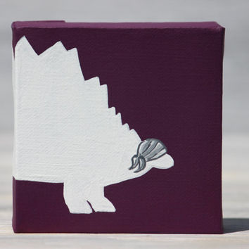"""Small Dinosaur Pirate Painting, Stegosaurus Silhouette / 4"""" x 4"""" Canvas, More Colors Available"""
