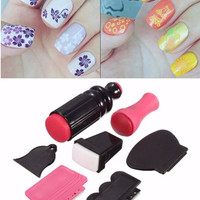 7PCS Nail Art Scraper Stamping Manicure Polish Double Ended Stamper Image Tool Set Kit Design