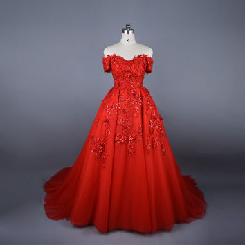 Real Photo 2017 Arabic Vintage Red Ball Gown Puffy Appliques Lace Beads Off The Shoulder Short Sleeves Formal Evening Prom Dress