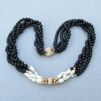 Vintage 14K Yellow Gold & Freshwater Pearl, Onyx Bead Multi-Strand Torsade Necklace, MINT In Box!