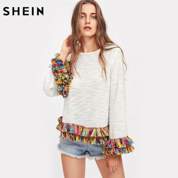 SHEIN Colorful Fringe Trim Slub Tee Women Casual Long Sleeve Women T shirts Beige Round Neck Casual Boho T-Shirt