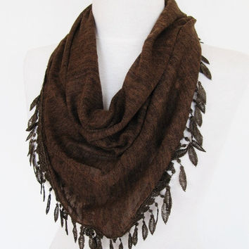 Brown Cotton Scarf / Shawl With Fringed Leaves