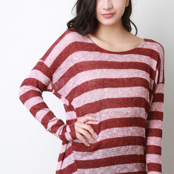 Loose Knit Striped Long Sleeve Top