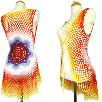 Crochet Mandala Vest - Floral Sweater - Eco Friendly - Recycled Cotton - Hippie Clothing - Red, Burgundy, Purple, Pink, Orange, Yellow