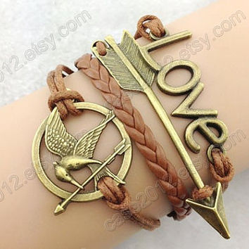 Mockingjay pin,Hunger games bracelet,antique bronze arrow bracelet, love bracelet,Couple bracelet leather