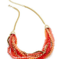 Charter Club Necklace, Gold-Tone Coral Bead Twist Frontal Necklace - All Fashion Jewelry - Jewelry & Watches - Macy's