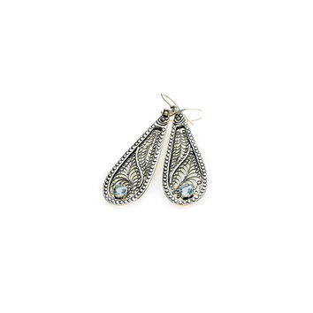 Ca D'zan Sunset Sterling Silver Blue Topaz Teardrop Earring