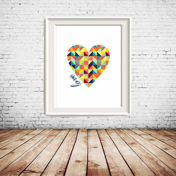 Colorful Geometric Heart Printable Art with love text, colorful wall art, wall decor, gallery wall decoration, home decoration