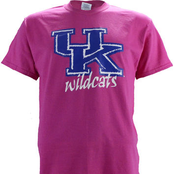 UK Stitch - Kentucky Wildcats on a Pink Short Sleeve T Shirt