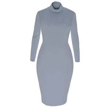 Cowl Neck Midi Dress, Fog