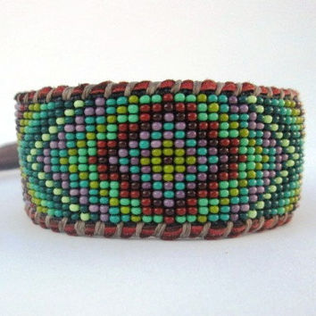 Boho Men's Beaded Geometric Cuff Bracelet on Chocolate Deer Hide Leather, Green and Purple, Limited Edition