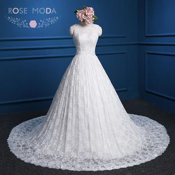 Rose Moda Bateau Neck Sleeveless Chantilly Lace Ball Gown with Sash V Back Princess Lace Wedding Dress Real Photos