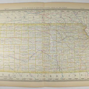 1881 Rand McNally Kansas Map, Antique Map of Kansas, KS Map, Vintage Kansas Gift for Fathers Day, US Geography Art, Midwest State Map