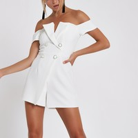 White bardot tux romper - Rompers - Rompers & Jumpsuits - women