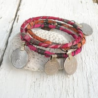 Silk Road Gypsy Bangle Stack, 3 Bohemian Tribal Bracelets, Silk Wrapped in Pink and Orange