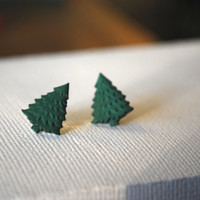 Christmas Tree Earrings -- Christmas Tree Studs, Green Pine Tree Earrings, Xmas Earrings