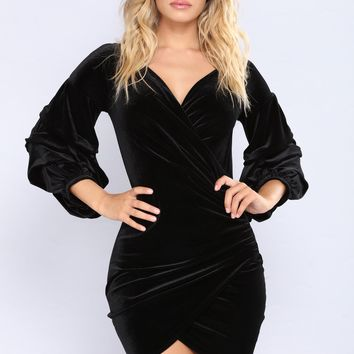 Blair Velvet Dress - Black