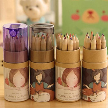 Free Shipping 12 Colors Artist Professional Fine Drawing Painting Sketching Writing Drawing Pencil Box Cases MIni Stationary