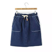 Summer Women's Fashion With Pocket Split Denim Skirt [4920247428]