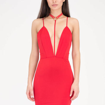 Ring Of Fire T-Strap Choker Dress