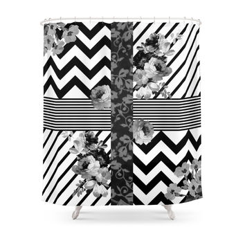 Society6 Trendy Black And White Floral Lace Stripes Chevron Shower Curtains