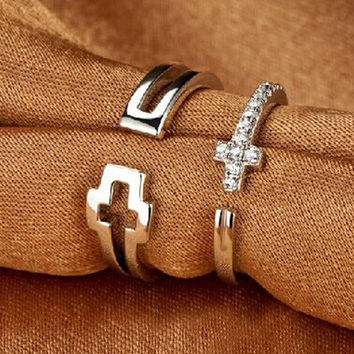 Couple Ring Jewelry Korean 925 Silver Cross Hollow Out Rack [11141500692]