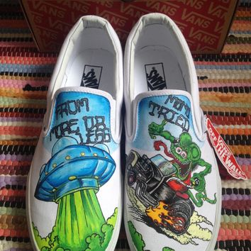 Rat Fink Old School Tattoo Style Hand Painted Custom Vans - Buy Rat Fink Old School Tattoo Style Hand Painted Custom Vans Online at Best Prices in Ireland - Plain Jane Art & Illustration - Buy Art,Art Objects Products From Plain Jane Art & Illustration - C
