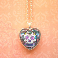 Sugar skull glass dome heart necklace for tween or teen girl