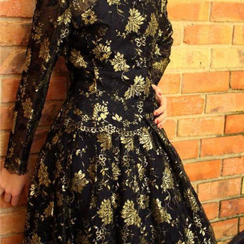 Vintage 80s Albert Nipon 50s Style Lace/Gold Cocktail Dress