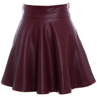 ROMWE | Pleated High Waist Claret-red Slim Skirt, The Latest Street Fashion