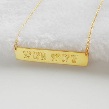 Latitude longitude Necklace Gold,Engraved Coordinates Gold Bar Necklace,GPS Coordinate Necklace,Horizontal Bar Jewelry,Custom Bar Necklace